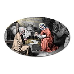 The Birth Of Christ Oval Magnet by Valentinaart