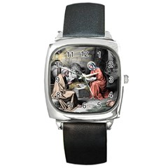 The Birth Of Christ Square Metal Watch by Valentinaart