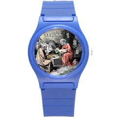 The Birth Of Christ Round Plastic Sport Watch (s) by Valentinaart