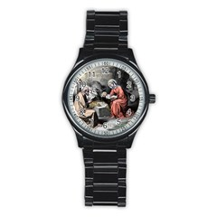 The Birth Of Christ Stainless Steel Round Watch by Valentinaart