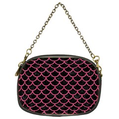 Scales1 Black Marble & Pink Denim (r) Chain Purses (one Side)  by trendistuff