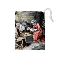 The Birth Of Christ Drawstring Pouches (medium)  by Valentinaart