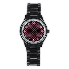 Scales1 Black Marble & Pink Denim (r) Stainless Steel Round Watch by trendistuff