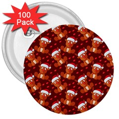 Christmas Pattern 3  Buttons (100 Pack)  by tarastyle