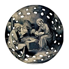 The Birth Of Christ Round Filigree Ornament (two Sides)