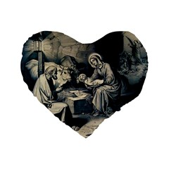 The Birth Of Christ Standard 16  Premium Heart Shape Cushions by Valentinaart