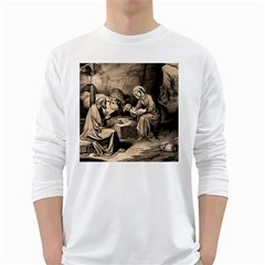 The Birth Of Christ White Long Sleeve T Shirts