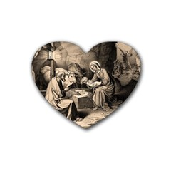 The Birth Of Christ Rubber Coaster (heart)  by Valentinaart