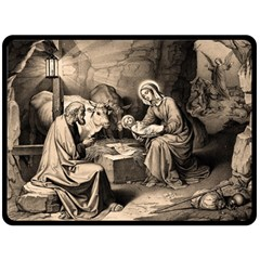 The Birth Of Christ Fleece Blanket (large)  by Valentinaart