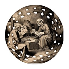 The Birth Of Christ Ornament (round Filigree) by Valentinaart