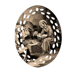 The Birth Of Christ Ornament (oval Filigree) by Valentinaart