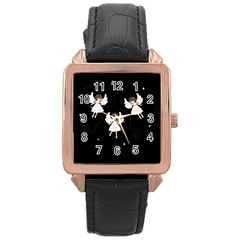 Christmas Angels  Rose Gold Leather Watch