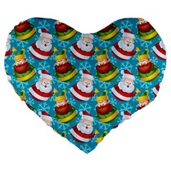 Christmas Pattern Large 19  Premium Flano Heart Shape Cushions by tarastyle