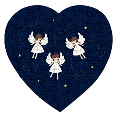 Christmas Angels  Jigsaw Puzzle (heart) by Valentinaart