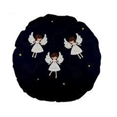 Christmas Angels  Standard 15  Premium Round Cushions by Valentinaart