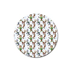 Christmas Pattern Magnet 3  (round)