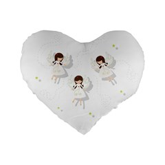 Christmas Angels  Standard 16  Premium Heart Shape Cushions by Valentinaart