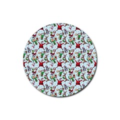 Christmas Pattern Rubber Round Coaster (4 Pack)  by tarastyle