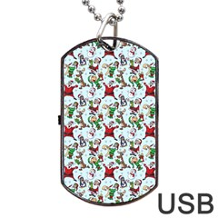 Christmas Pattern Dog Tag Usb Flash (two Sides) by tarastyle