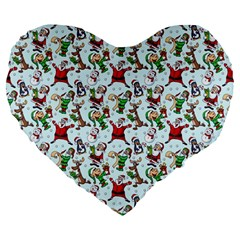 Christmas Pattern Large 19  Premium Heart Shape Cushions by tarastyle