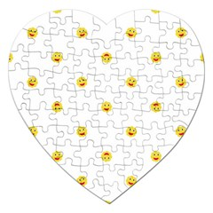 Happy Sun Motif Kids Seamless Pattern Jigsaw Puzzle (heart) by dflcprintsclothing