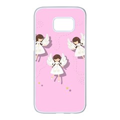 Christmas Angels  Samsung Galaxy S7 Edge White Seamless Case by Valentinaart