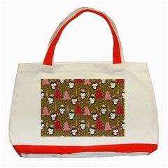 Christmas Pattern Classic Tote Bag (red)