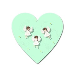 Christmas Angels  Heart Magnet by Valentinaart