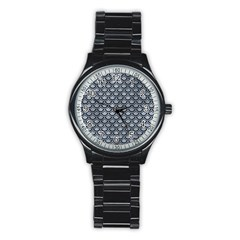 Scales2 Black Marble & Silver Paint Stainless Steel Round Watch by trendistuff