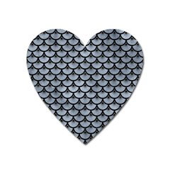 Scales3 Black Marble & Silver Paint Heart Magnet by trendistuff