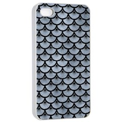 Scales3 Black Marble & Silver Paint Apple Iphone 4/4s Seamless Case (white) by trendistuff