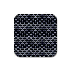 Scales3 Black Marble & Silver Paint (r) Rubber Square Coaster (4 Pack)  by trendistuff