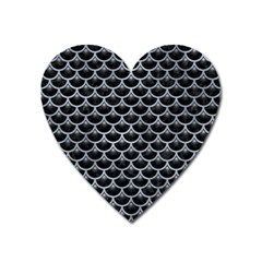 Scales3 Black Marble & Silver Paint (r) Heart Magnet by trendistuff