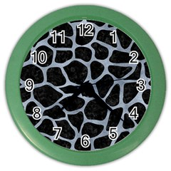 Skin1 Black Marble & Silver Paint Color Wall Clocks by trendistuff