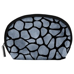 Skin1 Black Marble & Silver Paint (r) Accessory Pouches (large)  by trendistuff