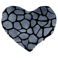 Skin1 Black Marble & Silver Paint (r) Large 19  Premium Flano Heart Shape Cushions by trendistuff