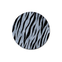 Skin3 Black Marble & Silver Paint Magnet 3  (round)