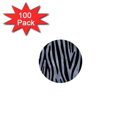 Skin4 Black Marble & Silver Paint (r) 1  Mini Buttons (100 Pack)  by trendistuff