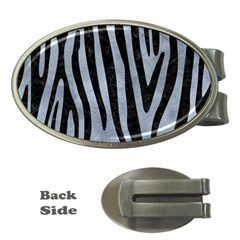 Skin4 Black Marble & Silver Paint (r) Money Clips (oval)