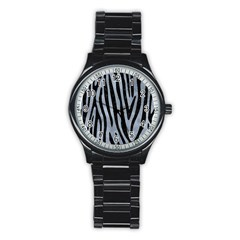 Skin4 Black Marble & Silver Paint (r) Stainless Steel Round Watch by trendistuff