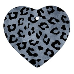 Skin5 Black Marble & Silver Paint (r) Heart Ornament (two Sides)