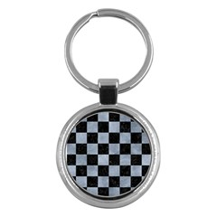 Square1 Black Marble & Silver Paint Key Chains (round)  by trendistuff