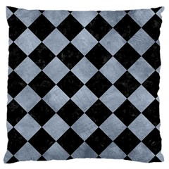 Square2 Black Marble & Silver Paint Large Cushion Case (two Sides)