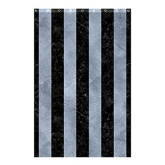 Stripes1 Black Marble & Silver Paint Shower Curtain 48  X 72  (small)  by trendistuff