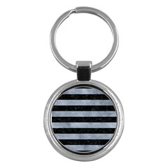 Stripes2 Black Marble & Silver Paint Key Chains (round)  by trendistuff