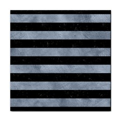 Stripes2 Black Marble & Silver Paint Face Towel by trendistuff