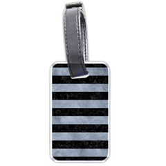 Stripes2 Black Marble & Silver Paint Luggage Tags (one Side)  by trendistuff