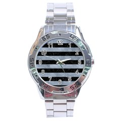 Stripes2 Black Marble & Silver Paint Stainless Steel Analogue Watch by trendistuff