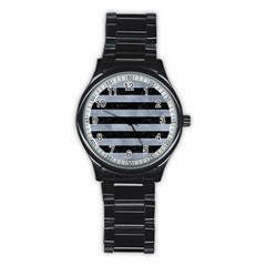 Stripes2 Black Marble & Silver Paint Stainless Steel Round Watch by trendistuff
