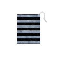Stripes2 Black Marble & Silver Paint Drawstring Pouches (xs)  by trendistuff